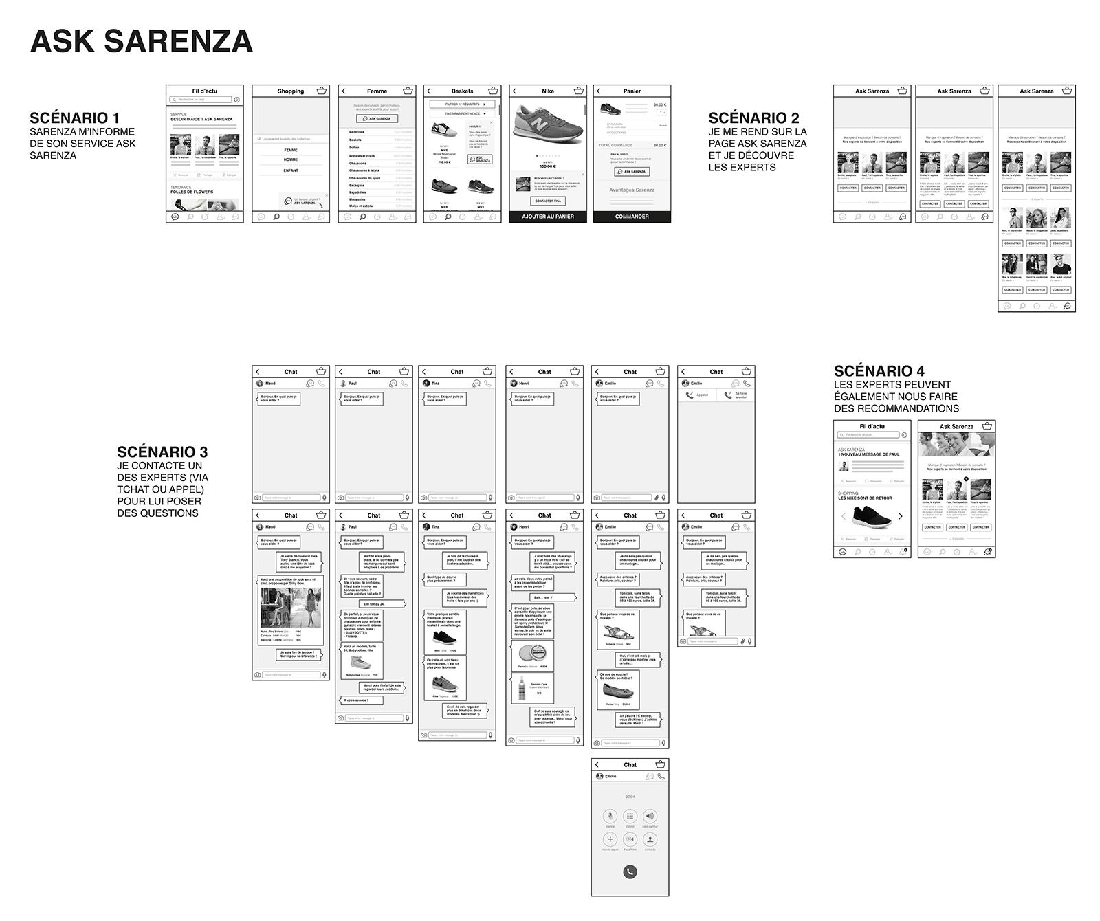 maquettes de l'application ASk de Sarenza