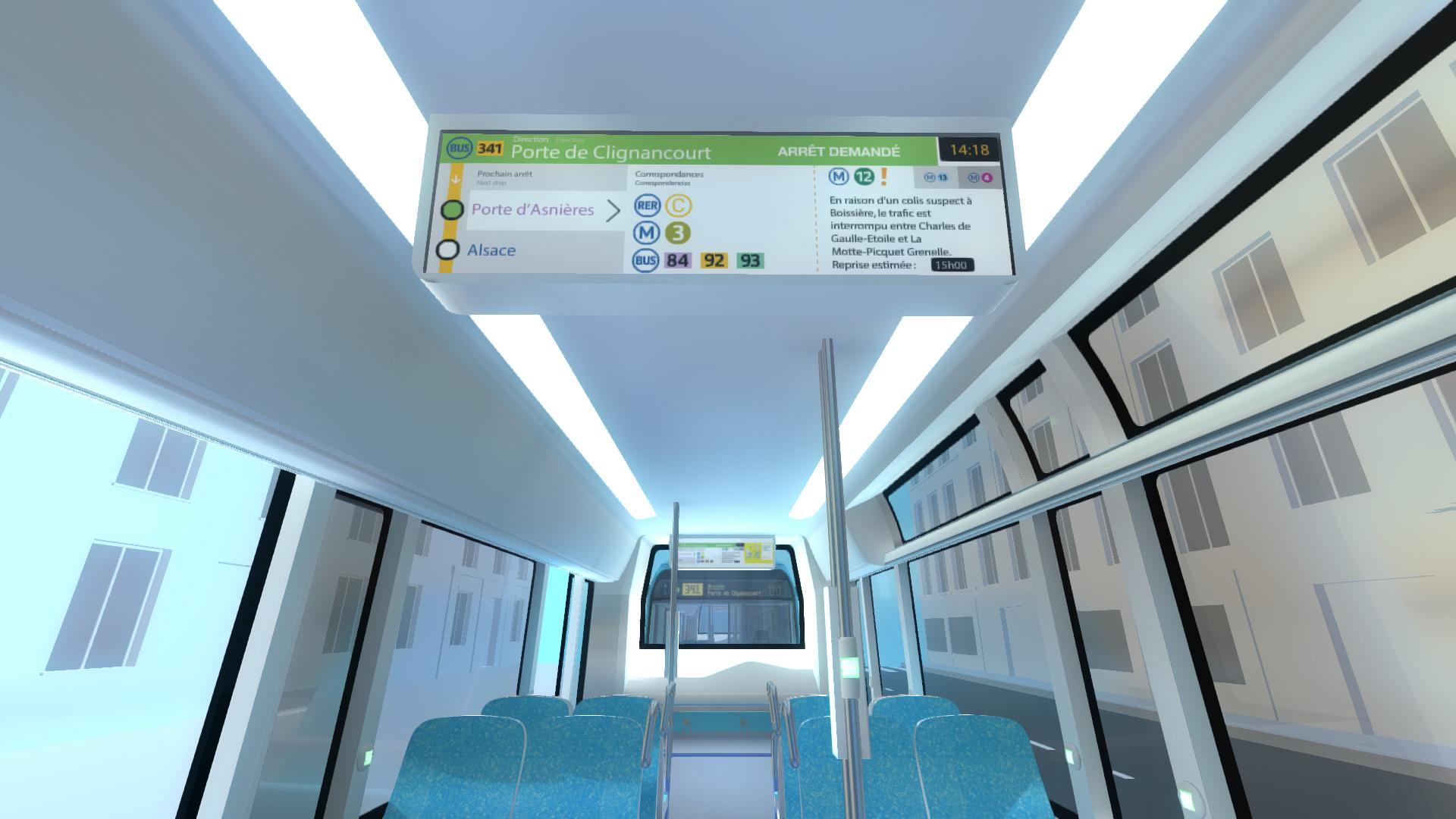 visite virtuelle en 3D du bus RATP ( Signalétique)
