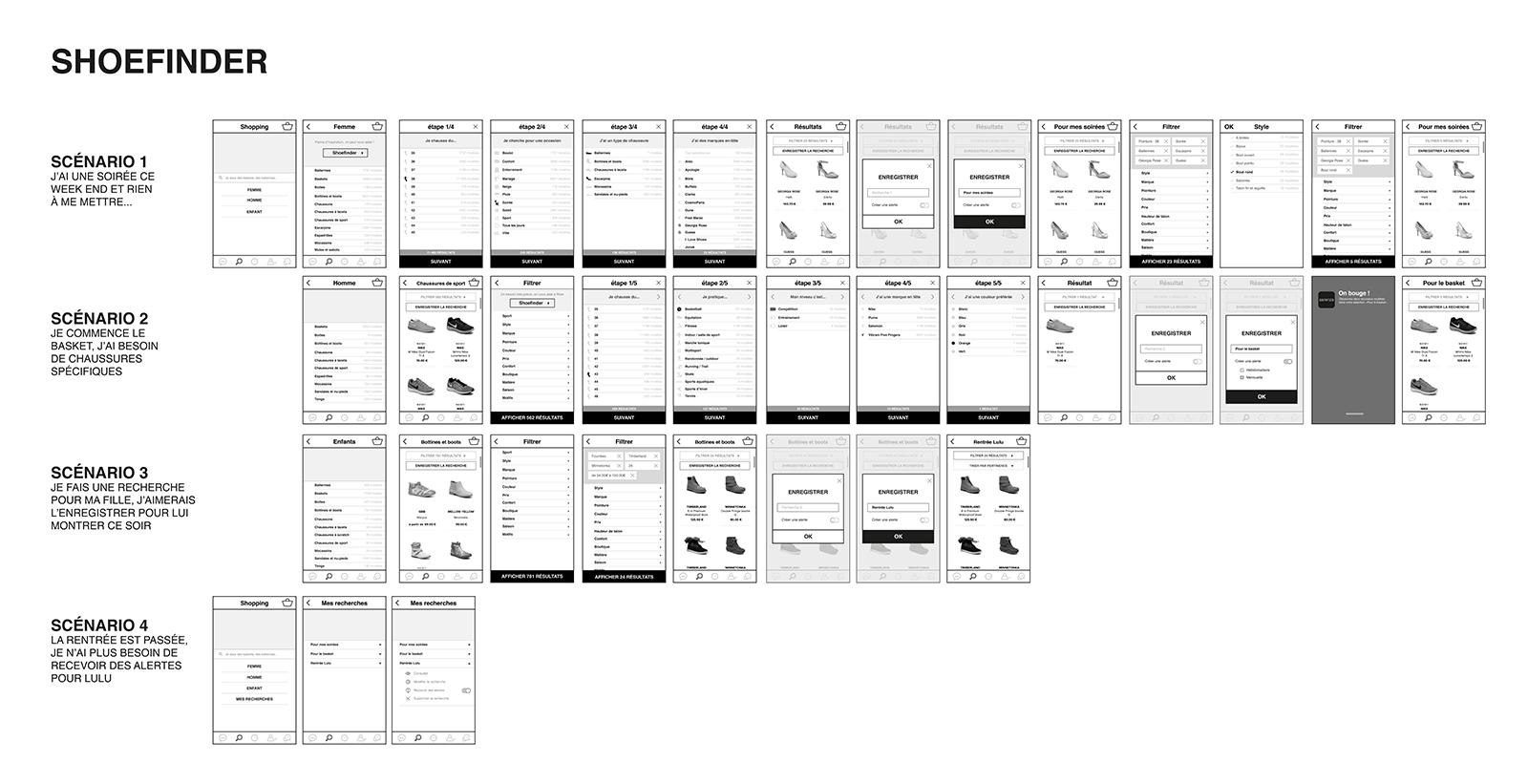maquettes de l'application Shoefinder